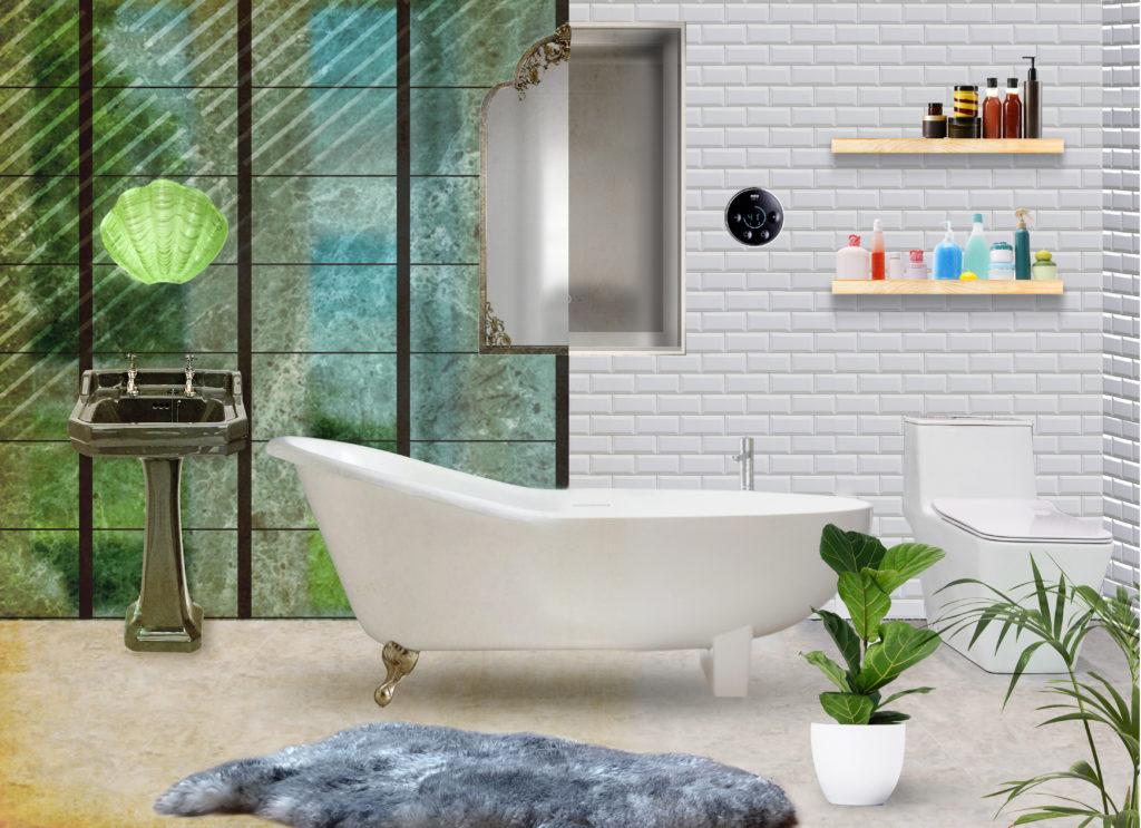 1920s vs 2020s Bathroom interior trends comparison
