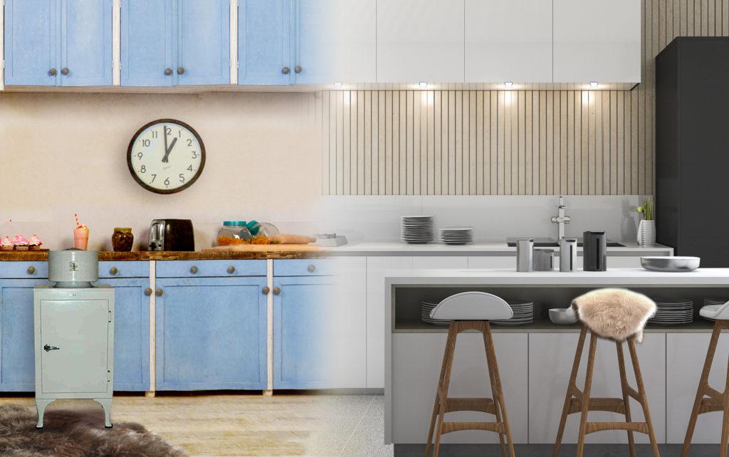 1920s vs 2020s Kitchen interior trends comparison