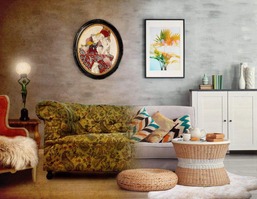 1920s vs 2020s Living Room interior trends comparison
