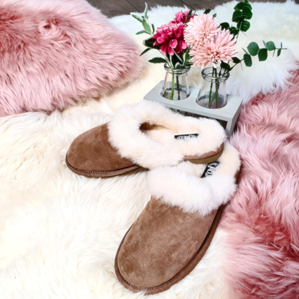 Ladies Chestnut Mule Sheepskin Slippers