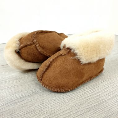 Chestnut Sheepskin Turned Down Baby Booties