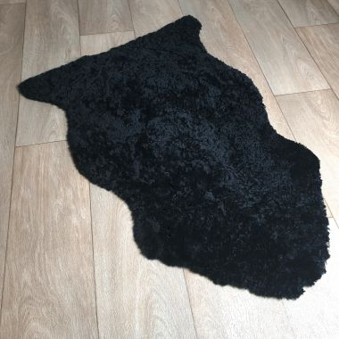 Black Curly Sheepskin Rug