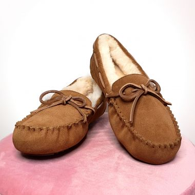 Ladies Chestnut Moccasin Slippers