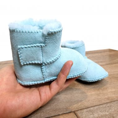Light Blue Sheepskin Classic Baby Booties