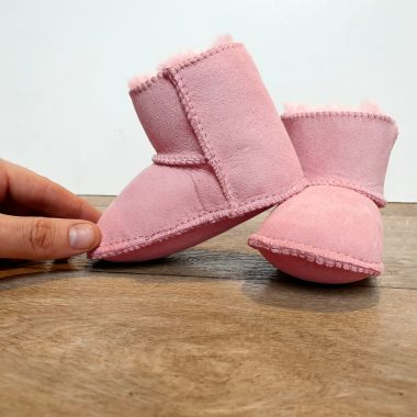 Pink Sheepskin Classic Baby Booties