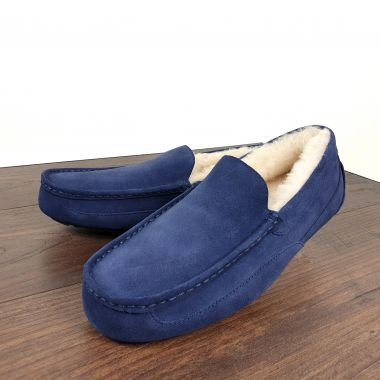 Men's Navy Blue Moccasin Slippers