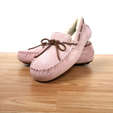 Ladies Pink Moccasin Slippers