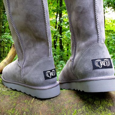 Grey Tall Sheepskin Boots