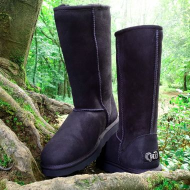 Black Tall Sheepskin Boots