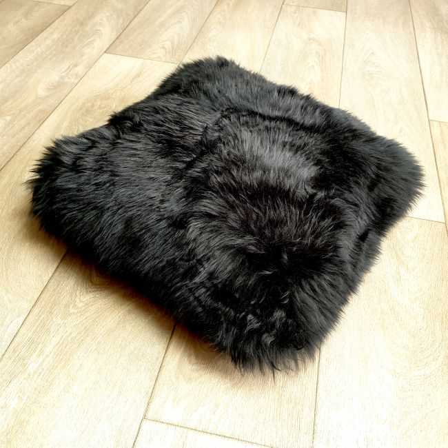 Image of Black Sheepskin Cushion