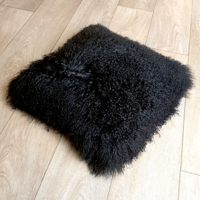 Image of Black Tibetan Sheepskin Cushion