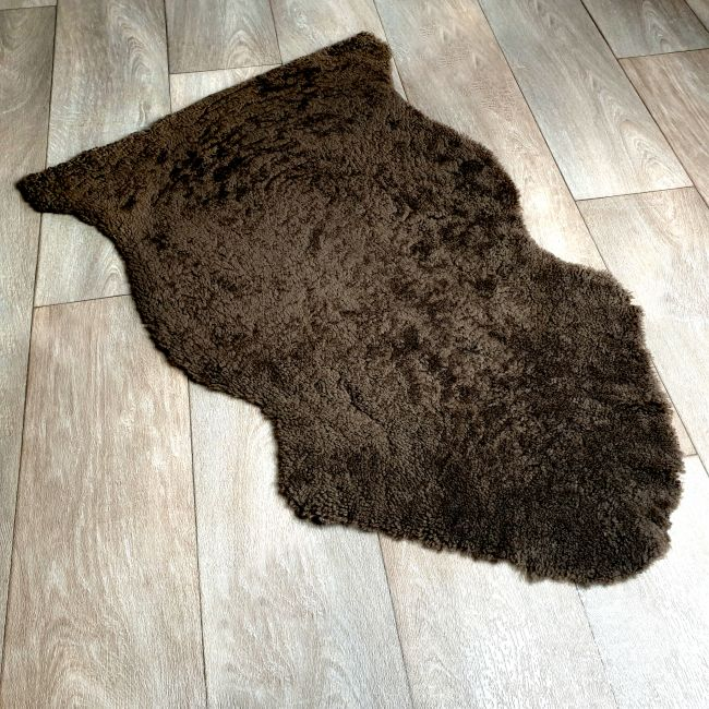 Image of Dark Brown Curly Sheepskin Rug