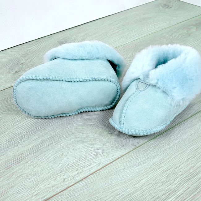 Image of Light Blue Sheepskin Turned Down Baby Booties