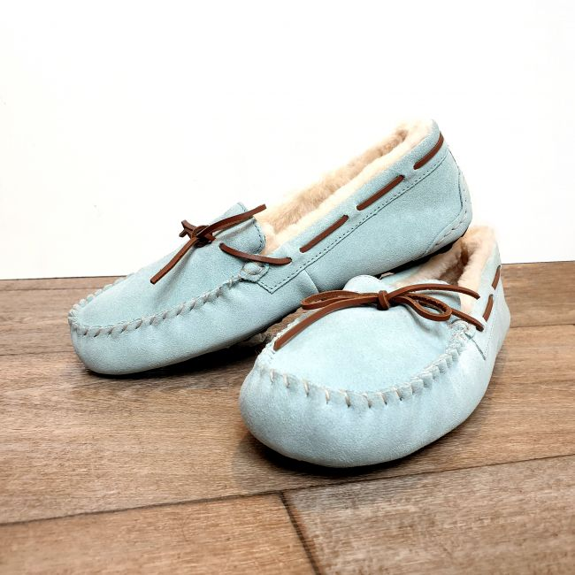 Image of Ladies Light Blue Moccasin Slippers