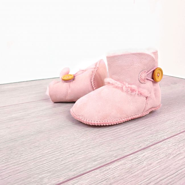Image of Pink Sheepskin Baby Button Booties