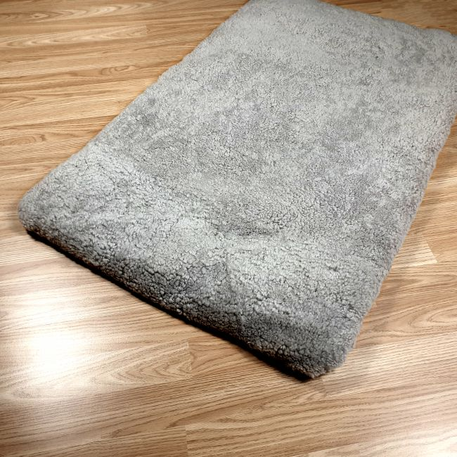 Image of Grey Curly Wool Sheepskin Pet Bed